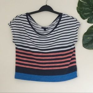 AEO | Pink Black White and Blue Stripped Crop Top